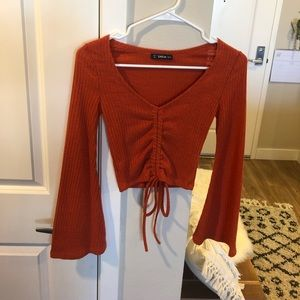 Beautiful Orangey/Red Drawstring Bell Sleeve Crop